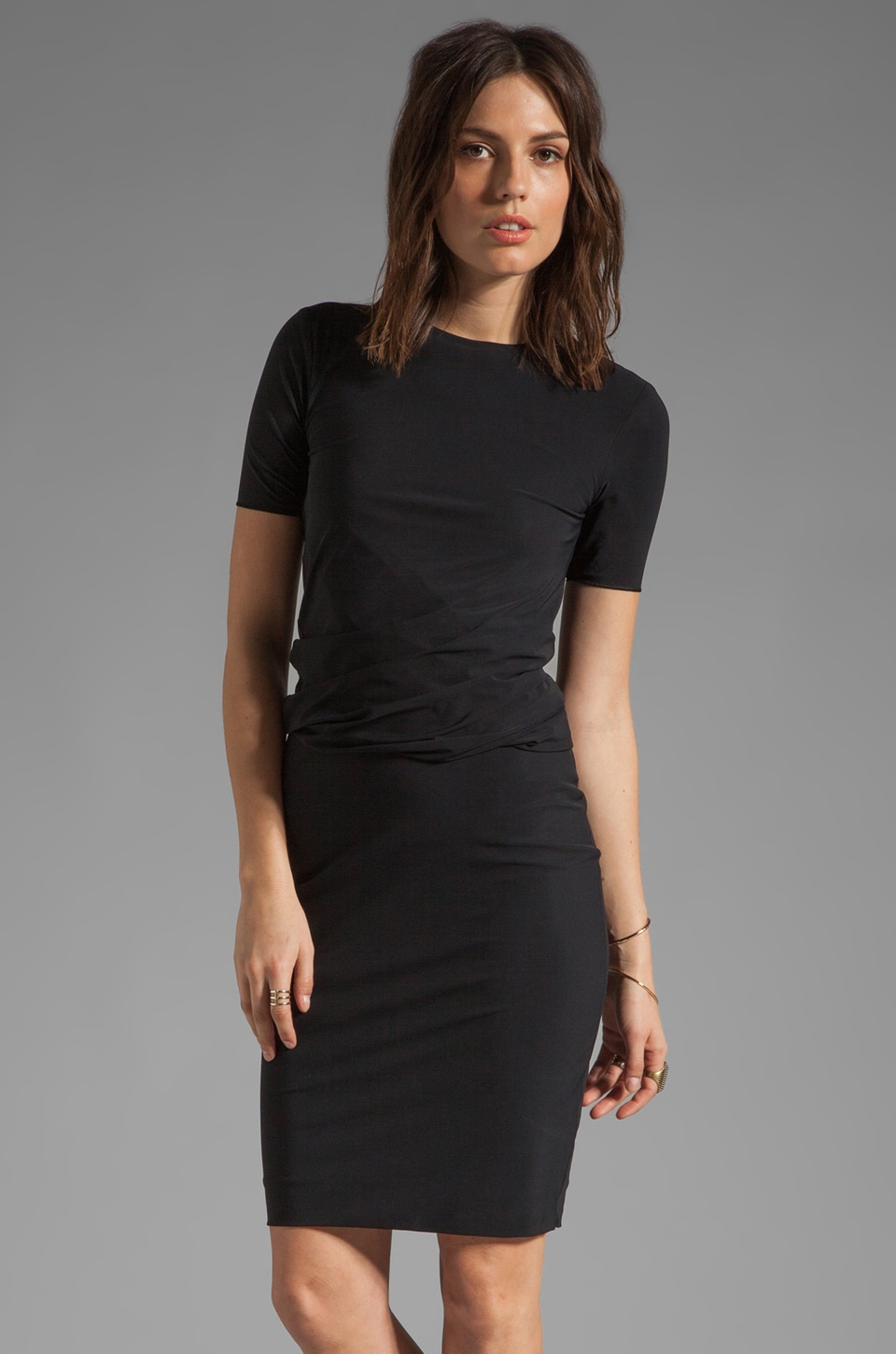 T by Alexander Wang Matte Tricot Twist Dress in Black