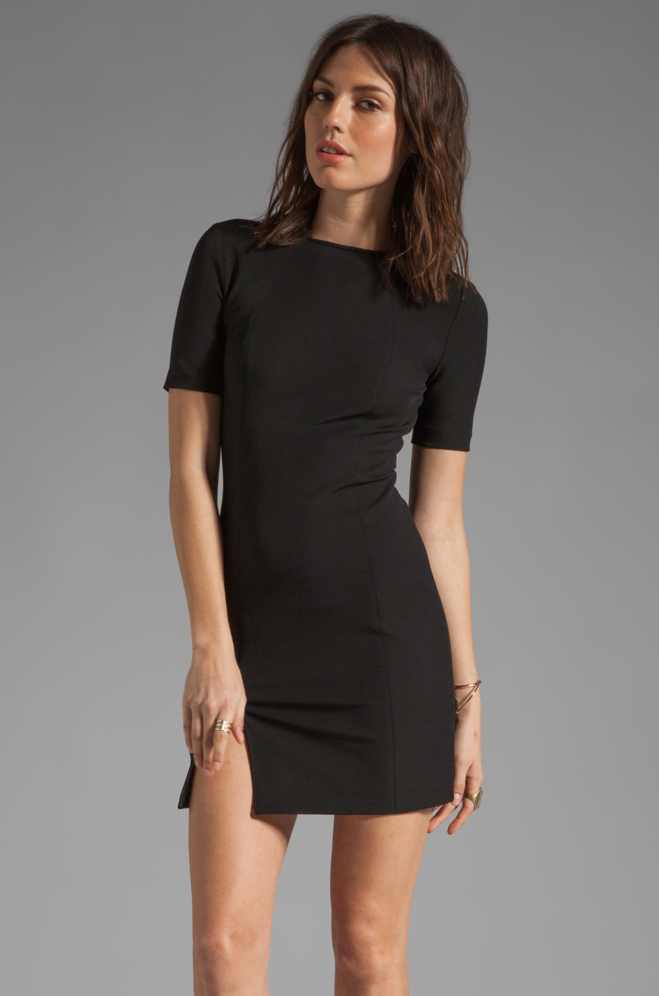 T by Alexander Wang Tech Suiting Fitting Dress in Black