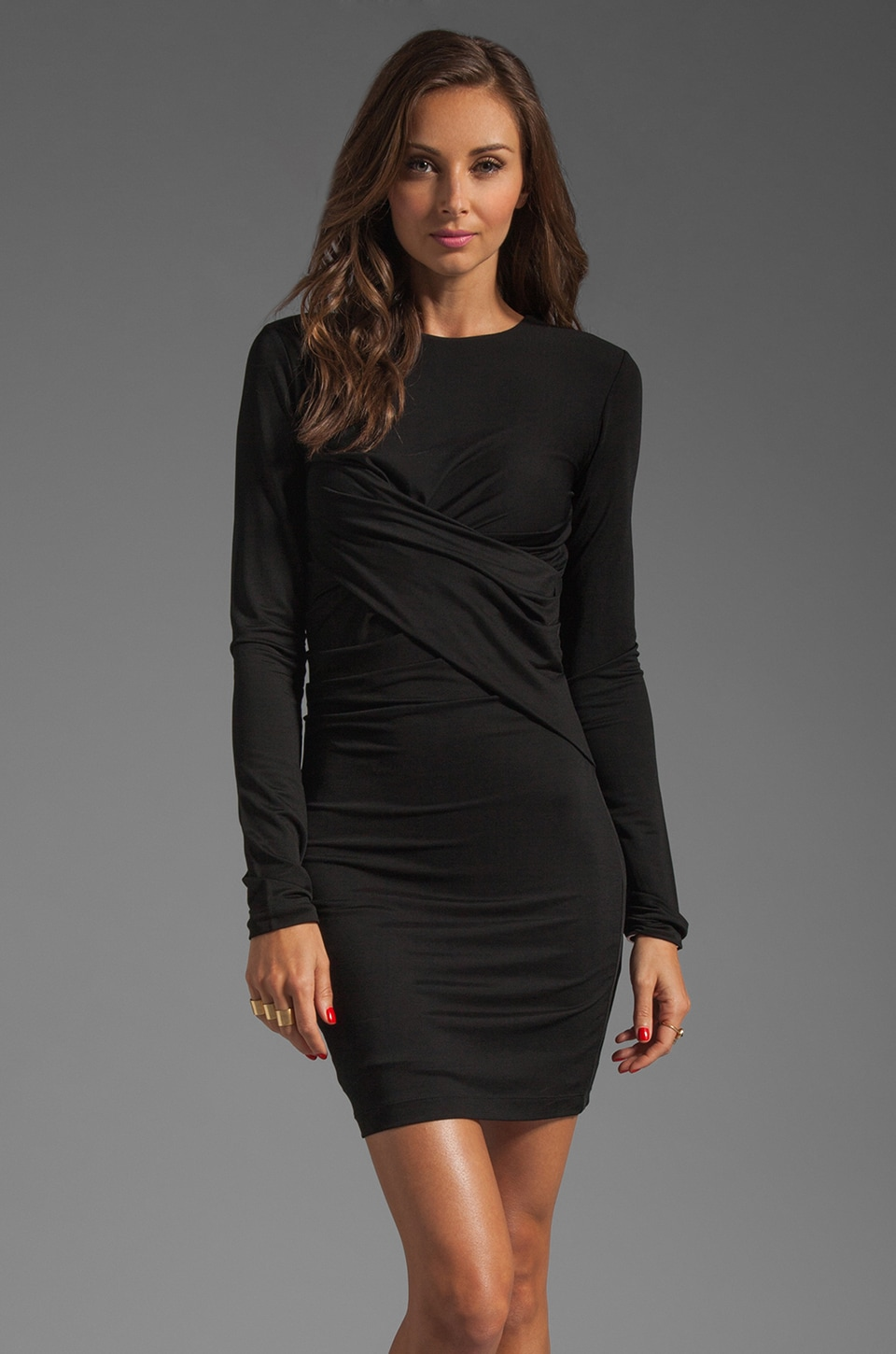 T by Alexander Wang Pique Mesh Long Sleeve Twist Dress in Black