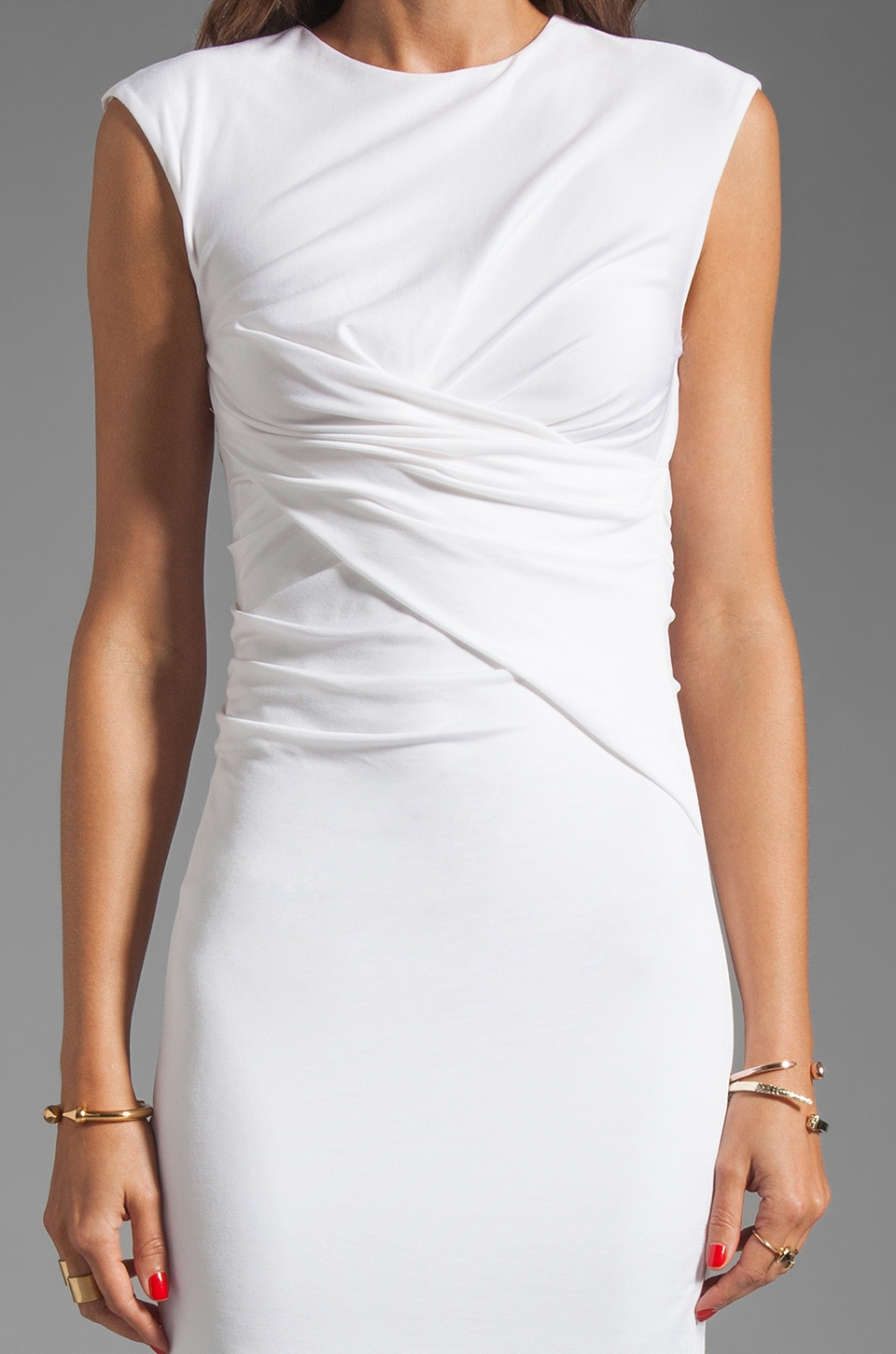 T by Alexander Wang Pique Mesh Sleeveless Dress in Ivory