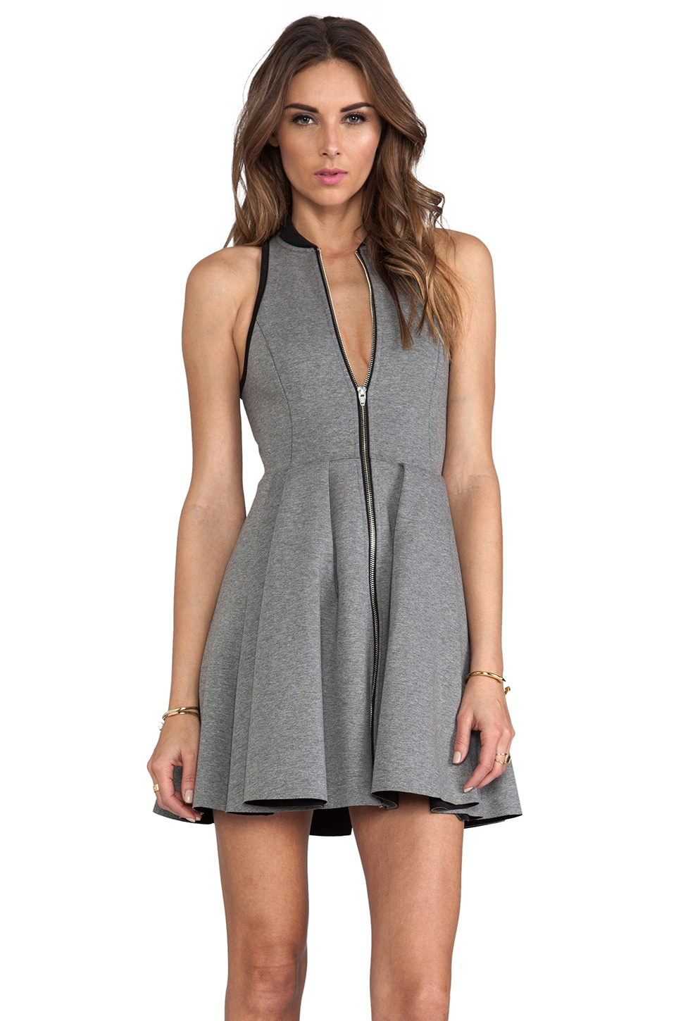T by Alexander Wang Jersey Bonded Neoprene Rib Collar Dress in Heather Grey