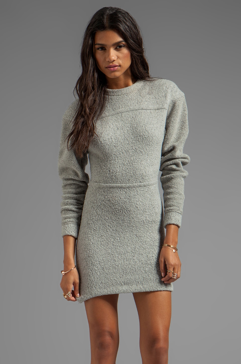 T by Alexander Wang Brushed Wool Sweatshirt Dress in Light Heather Grey