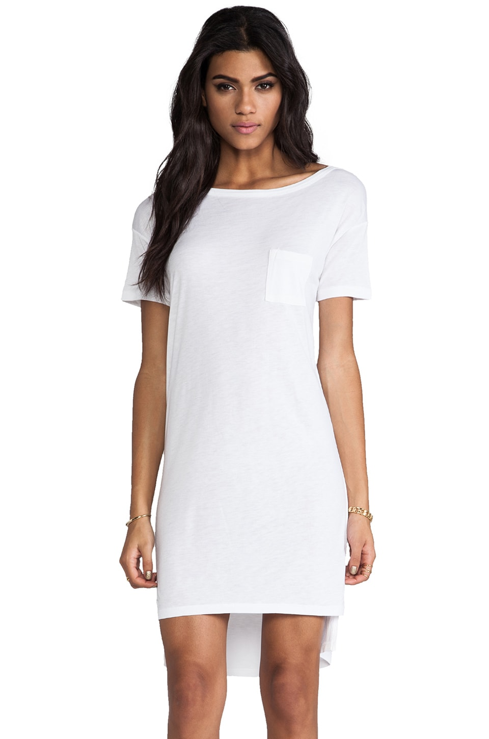 T by Alexander Wang Classic Boatneck Dress With Pocket in White