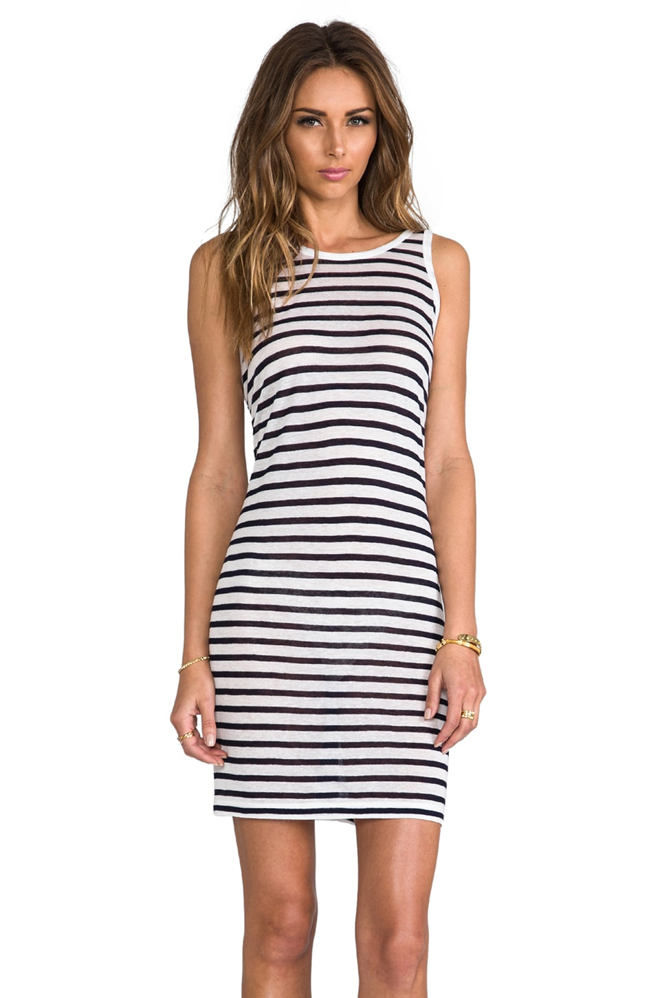 T by Alexander Wang Stripe Linen Tank Dress in Ink & White
