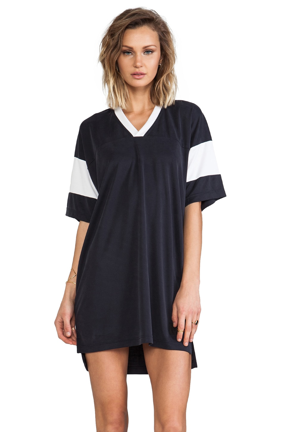 T by Alexander Wang Sandwashed Double Knit Football Tee Dress in Fossil