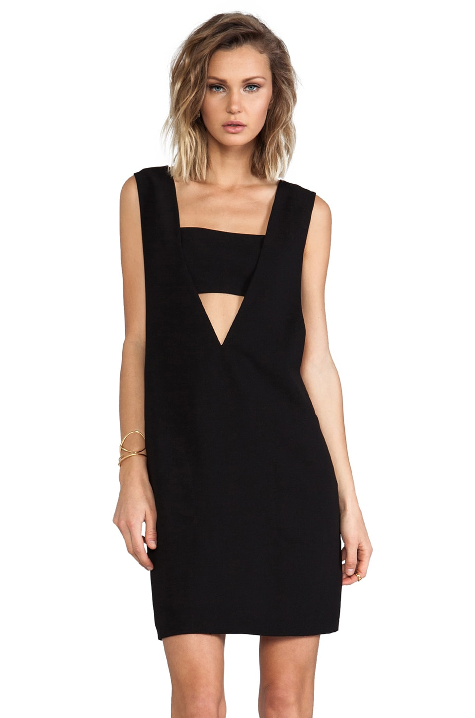 T by Alexander Wang Low V Dress in Black