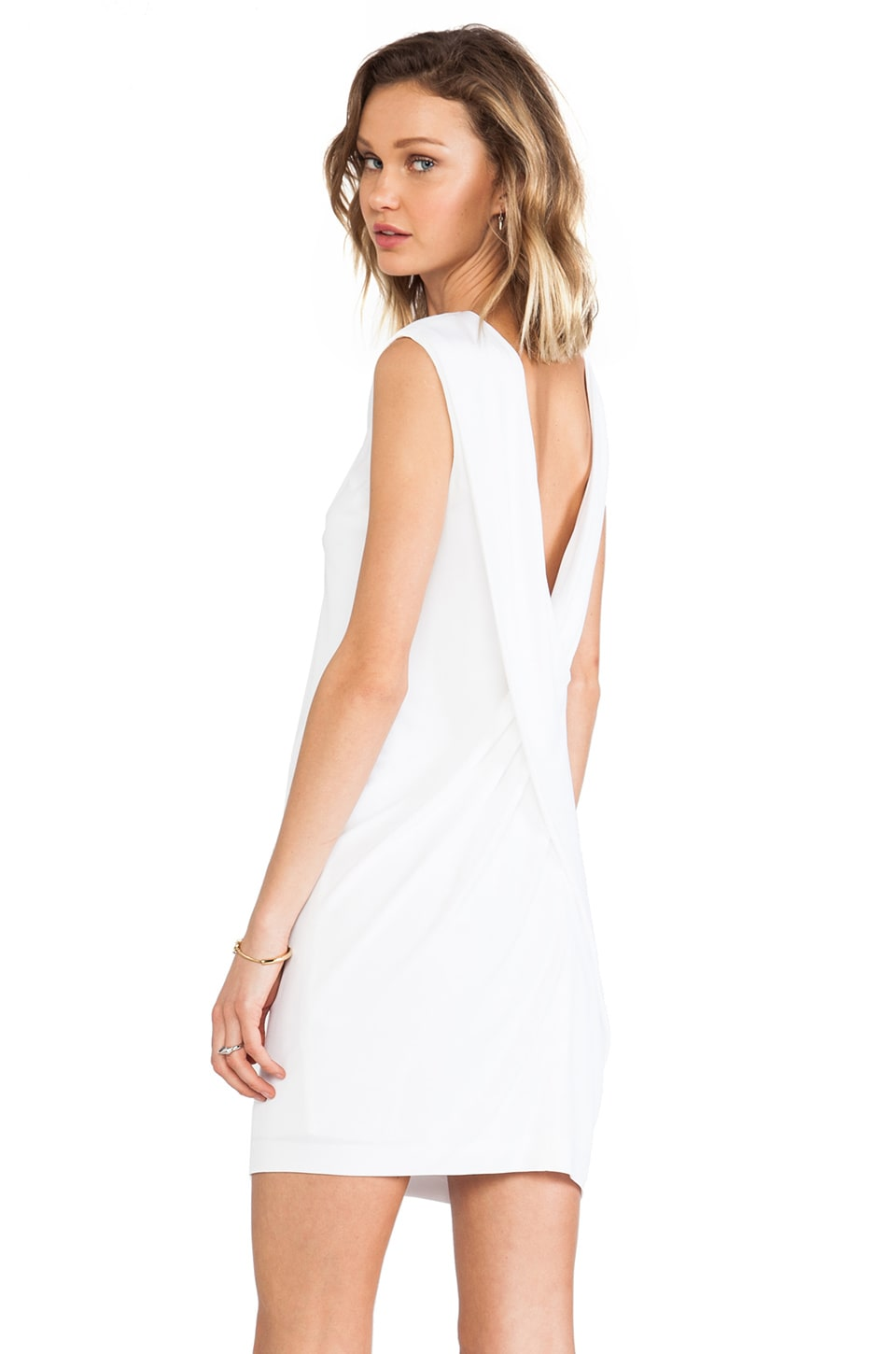 T by Alexander Wang Matte Jersey Cross Drape Back Dress in White