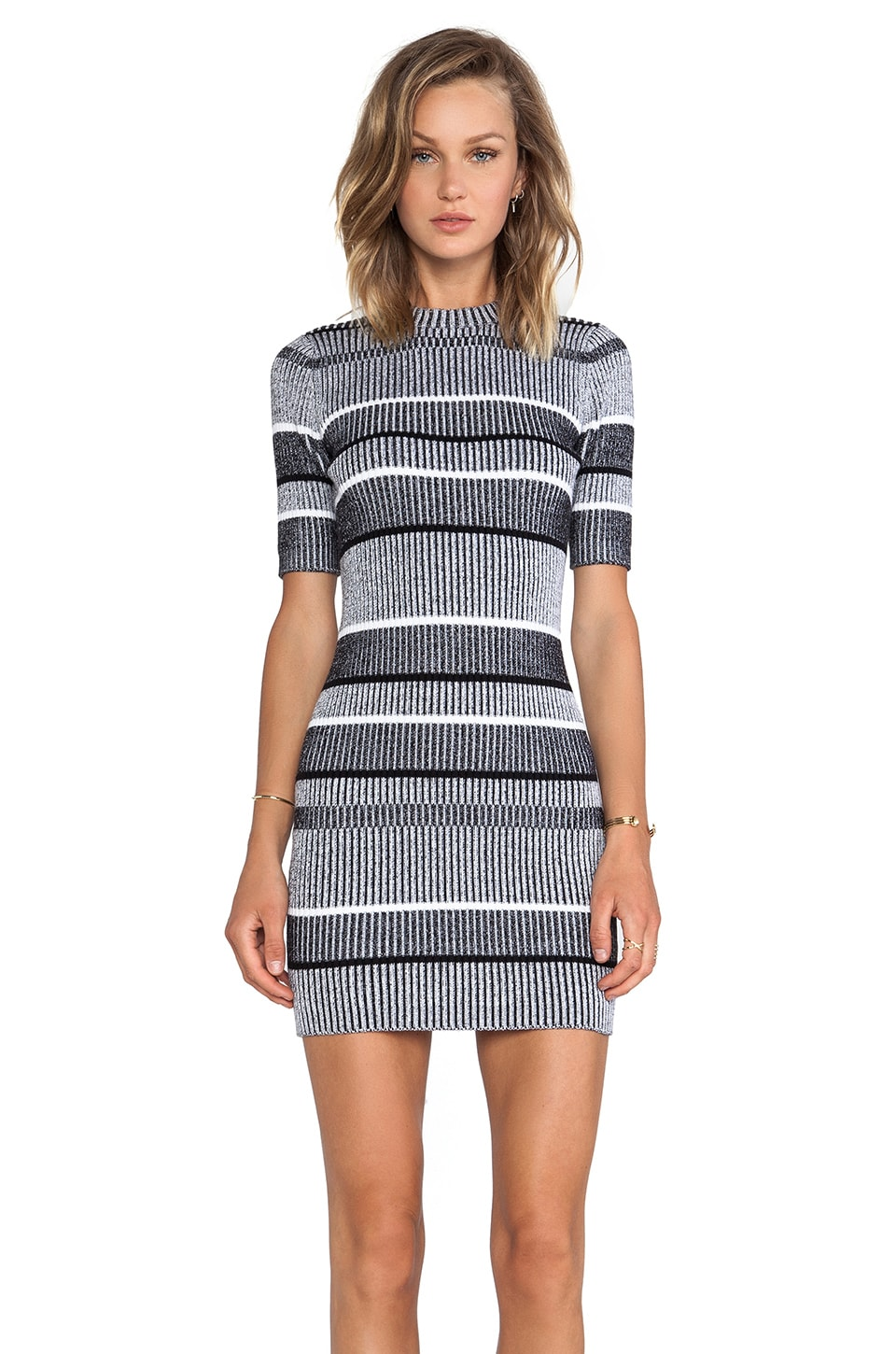 T by Alexander Wang Rib Knit Short Sleeve Dress in Black