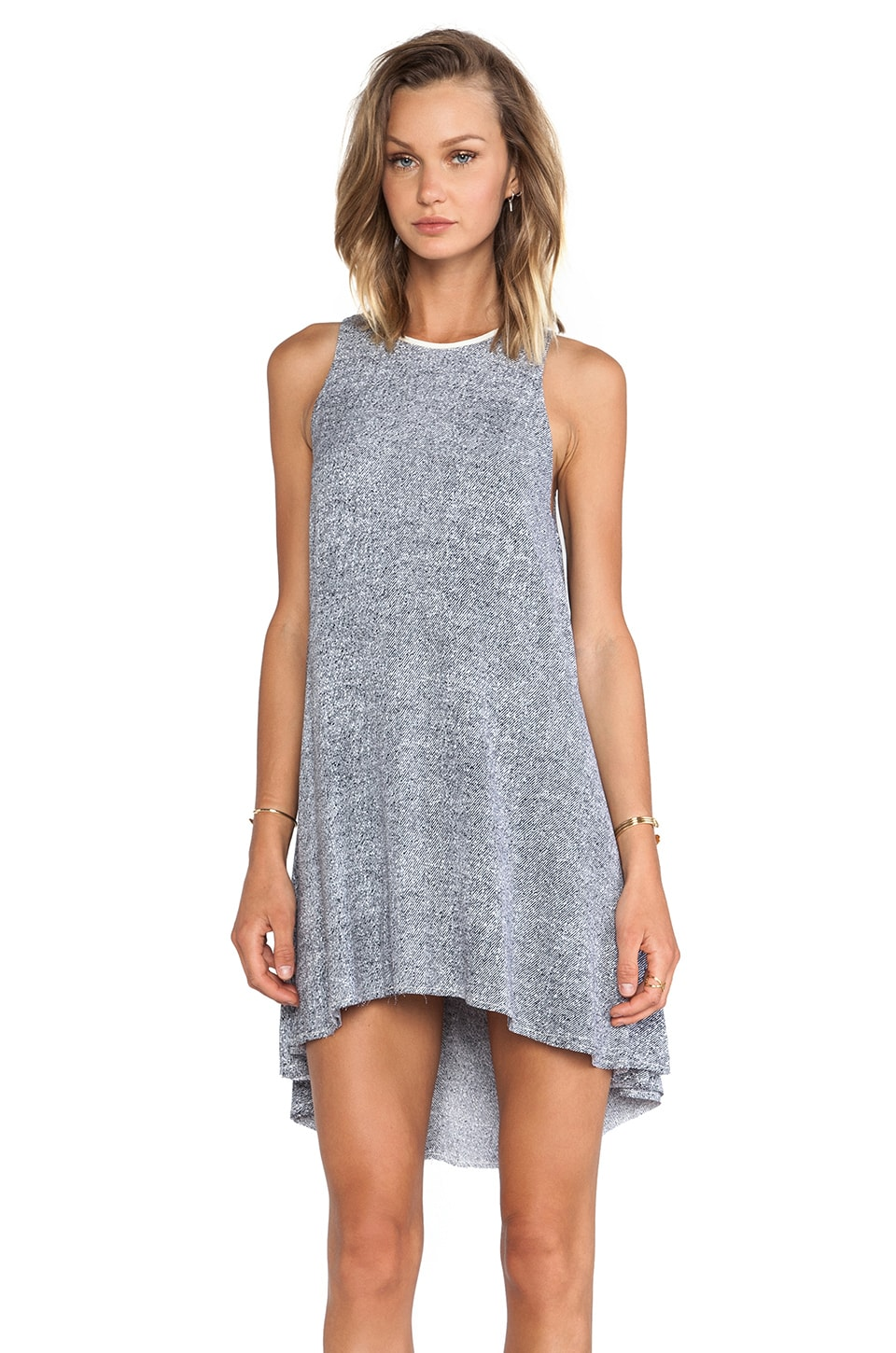 T by Alexander Wang Leather Trim Flow Dress in Ink & Ivory