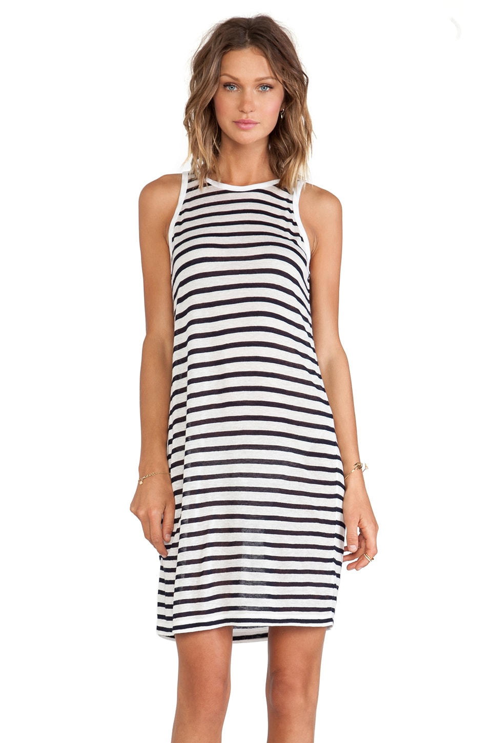 T by Alexander Wang Stripe Tank Dress in Ink & White
