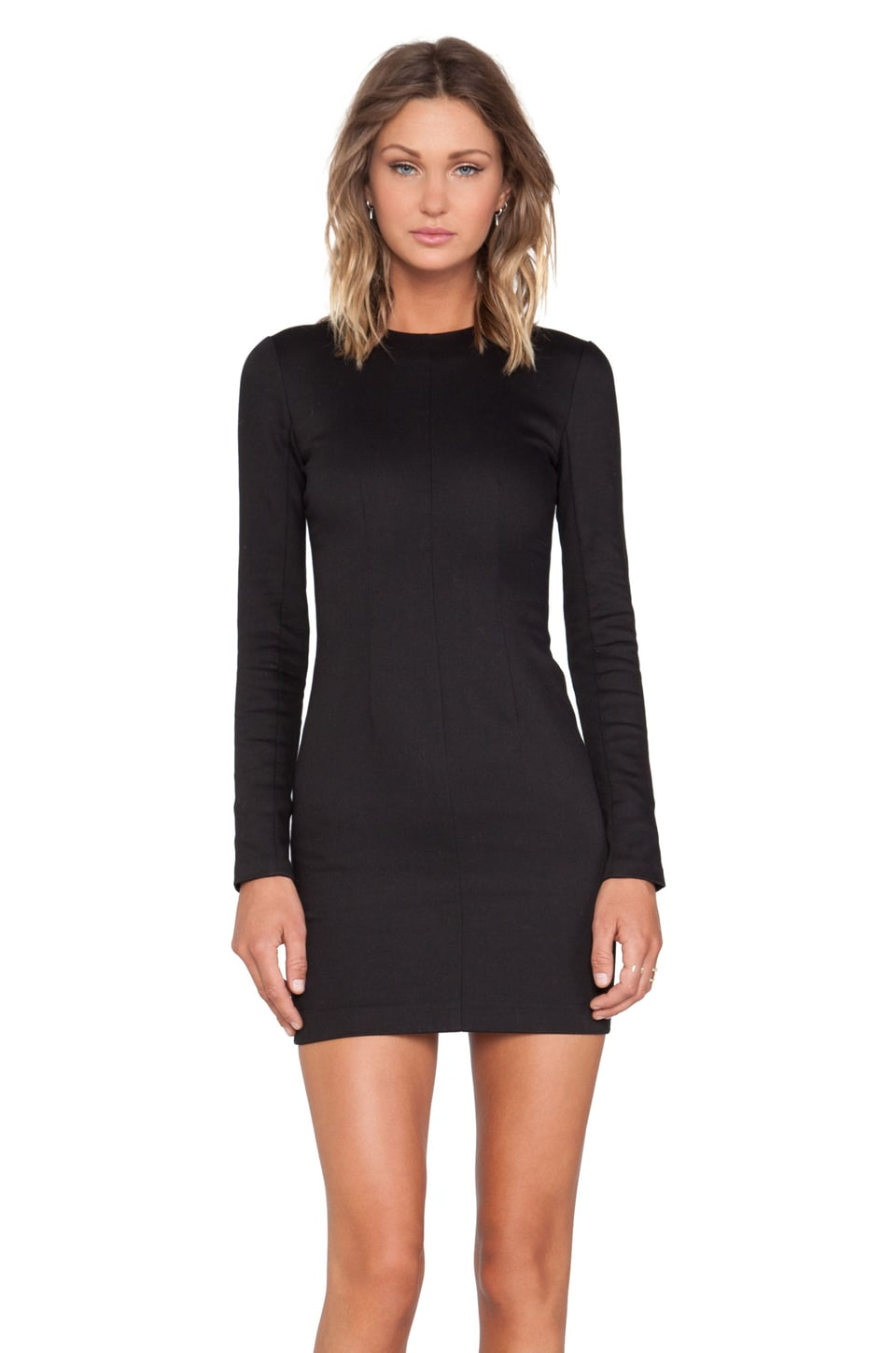 T by Alexander Wang Denim Long Sleeve Dress in Black