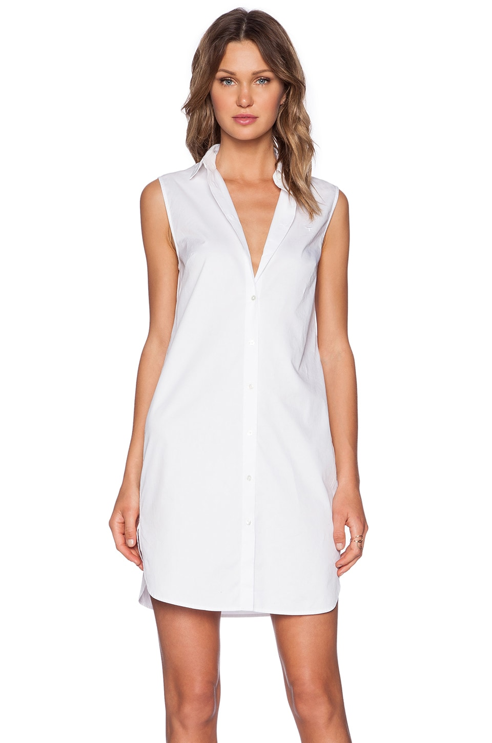 T By Alexander Wang Poplin Shirt Dress In White Revolve
