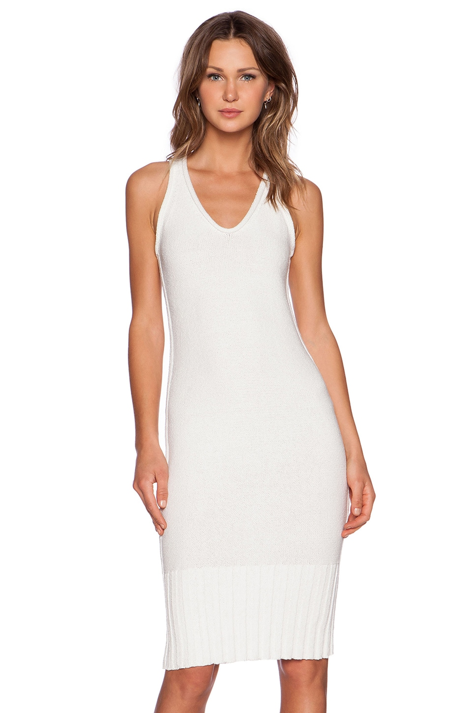 T by Alexander Wang Chunky Knit Maxi Dress in White