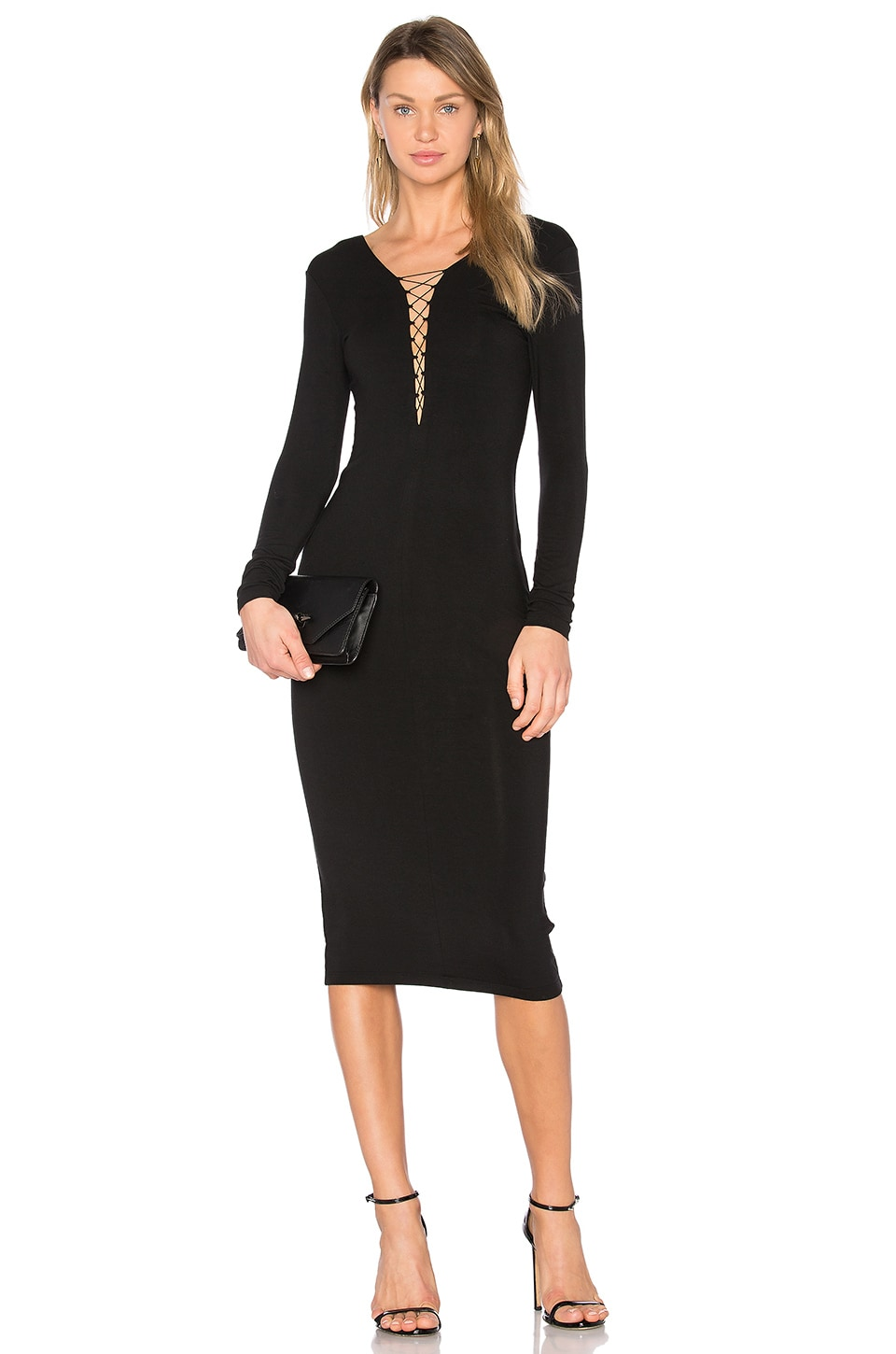 T by Alexander Wang Lace Up Midi Dress in Black