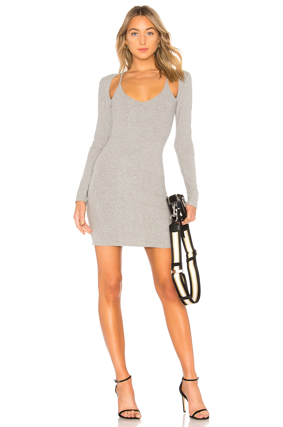 T BY AEXANDER WANG COMPACT RIB CUTOUT DRESS GREY