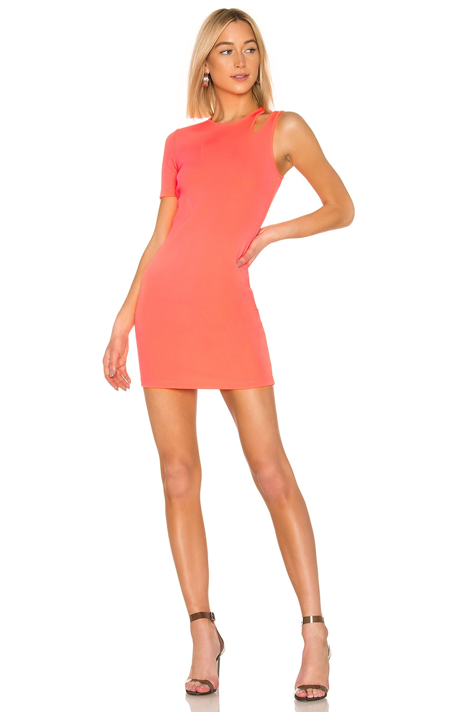 T by Alexander Wang Sleek Rib Asymmetric Dress in Hot Pink
