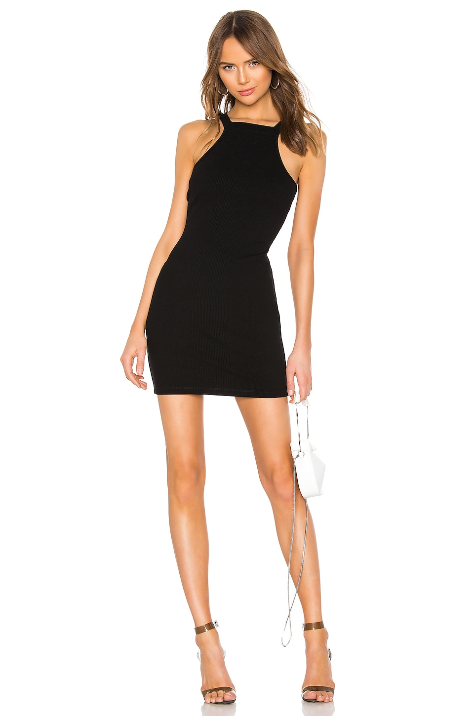 T by Alexander Wang Varigated Compact Jersey Dress in Black