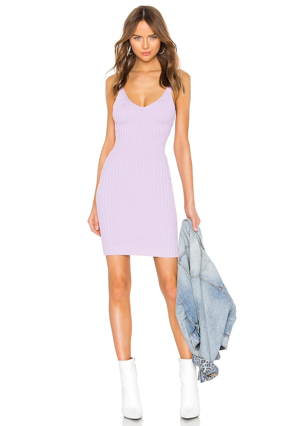 T by Alexander Wang Shrunken Rib Fitted Tank Dress in Lavender