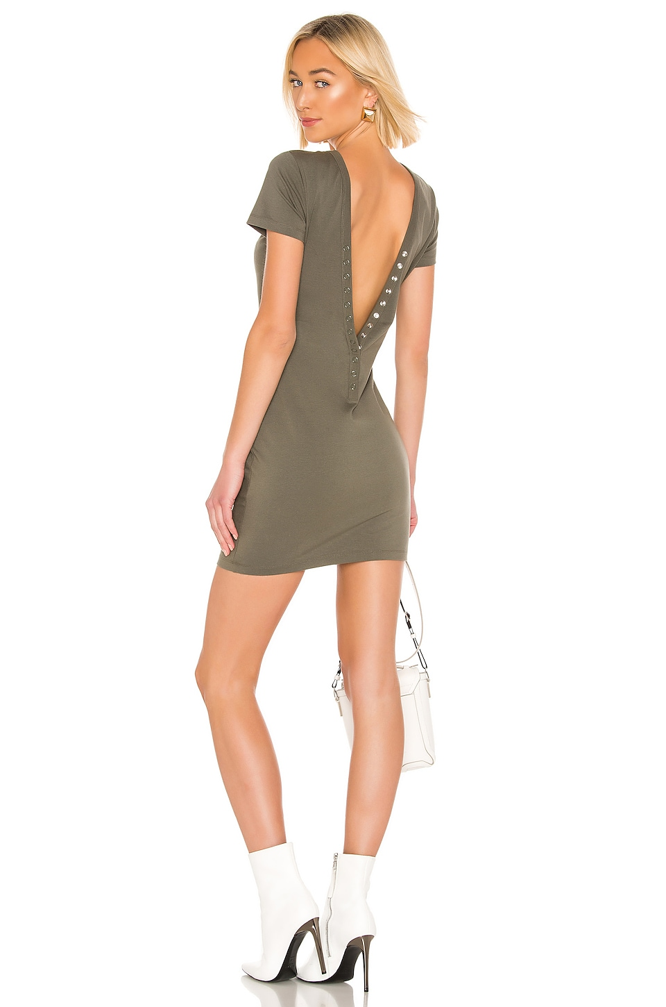 T by Alexander Wang Compact Jersey Snaps Dress in Army Green