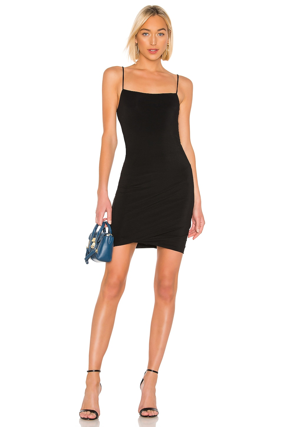 T by Alexander Wang Crepe Jersey Twisted Cami Dress in Black
