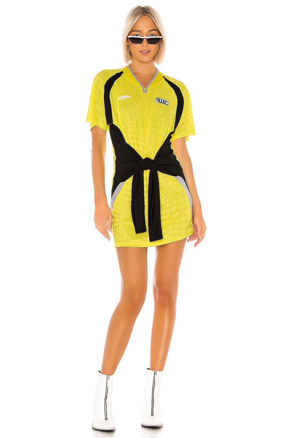 T by Alexander Wang Tricot Front Tie Dress in Lemon Multi