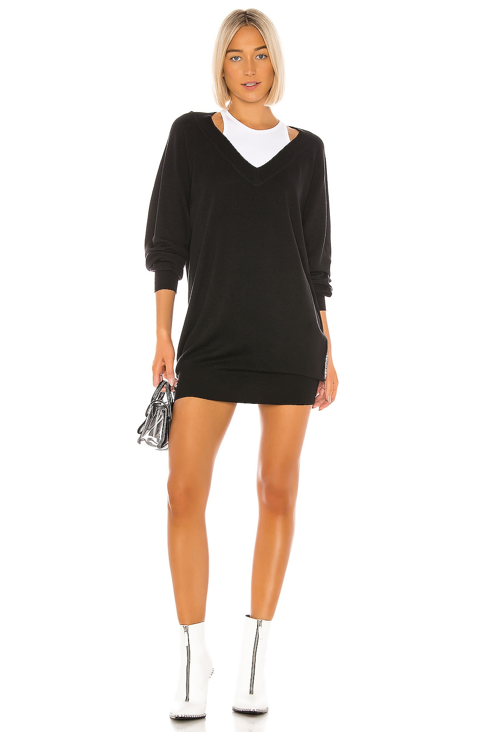 T by Alexander Wang Bi Layer Sweater Dress in Black & White