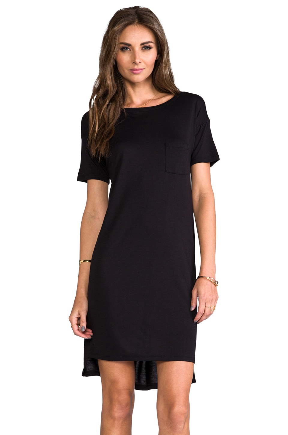T by Alexander Wang Boatneck Dress Mini Pocket Black