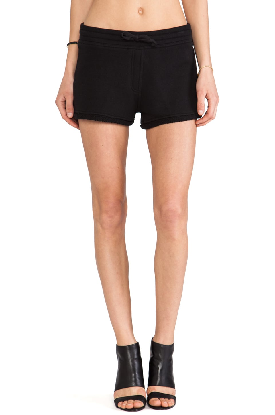 T by Alexander Wang Robust French Terry Shorts in Black
