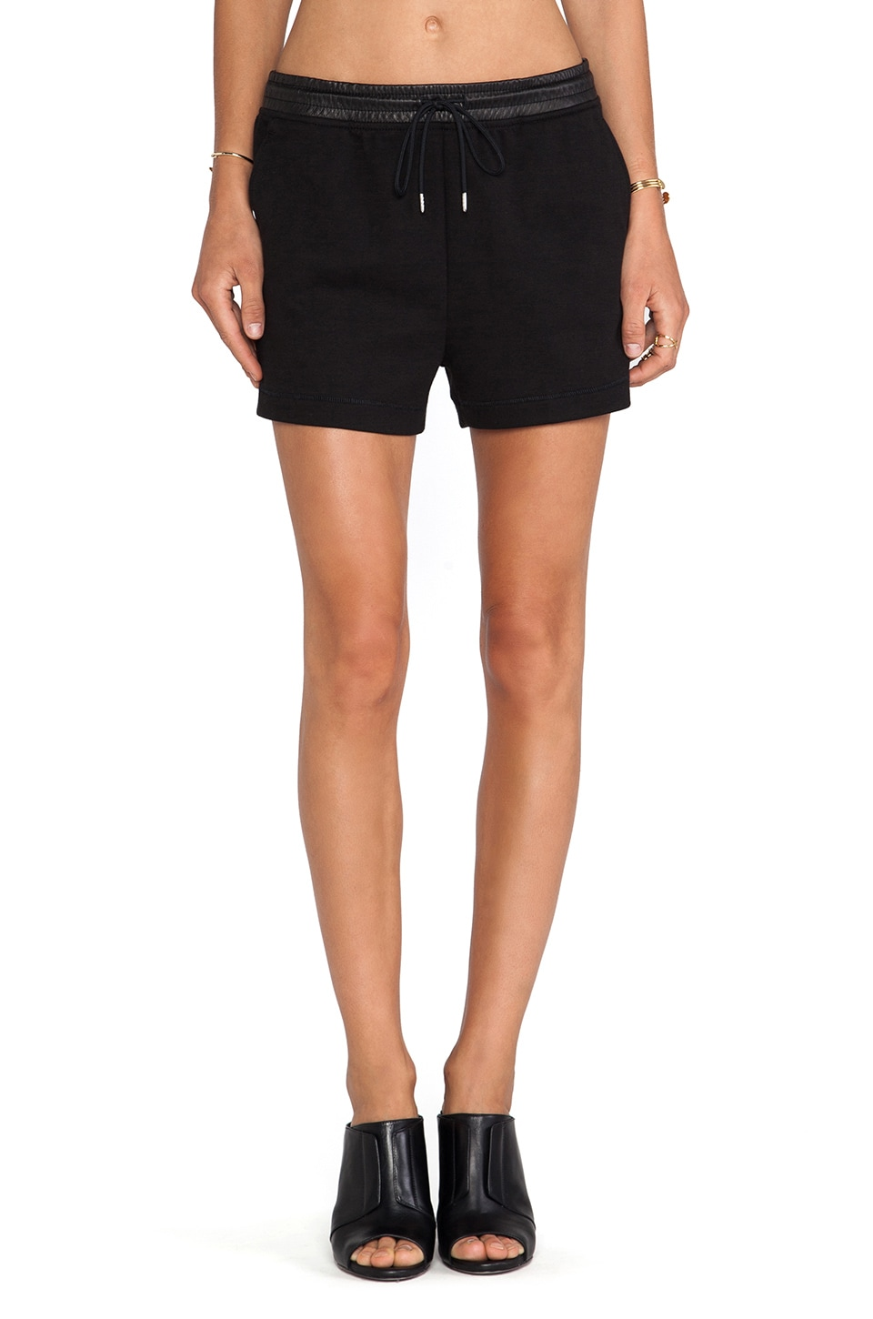T by Alexander Wang Leather Waistband Sweatshorts in Black