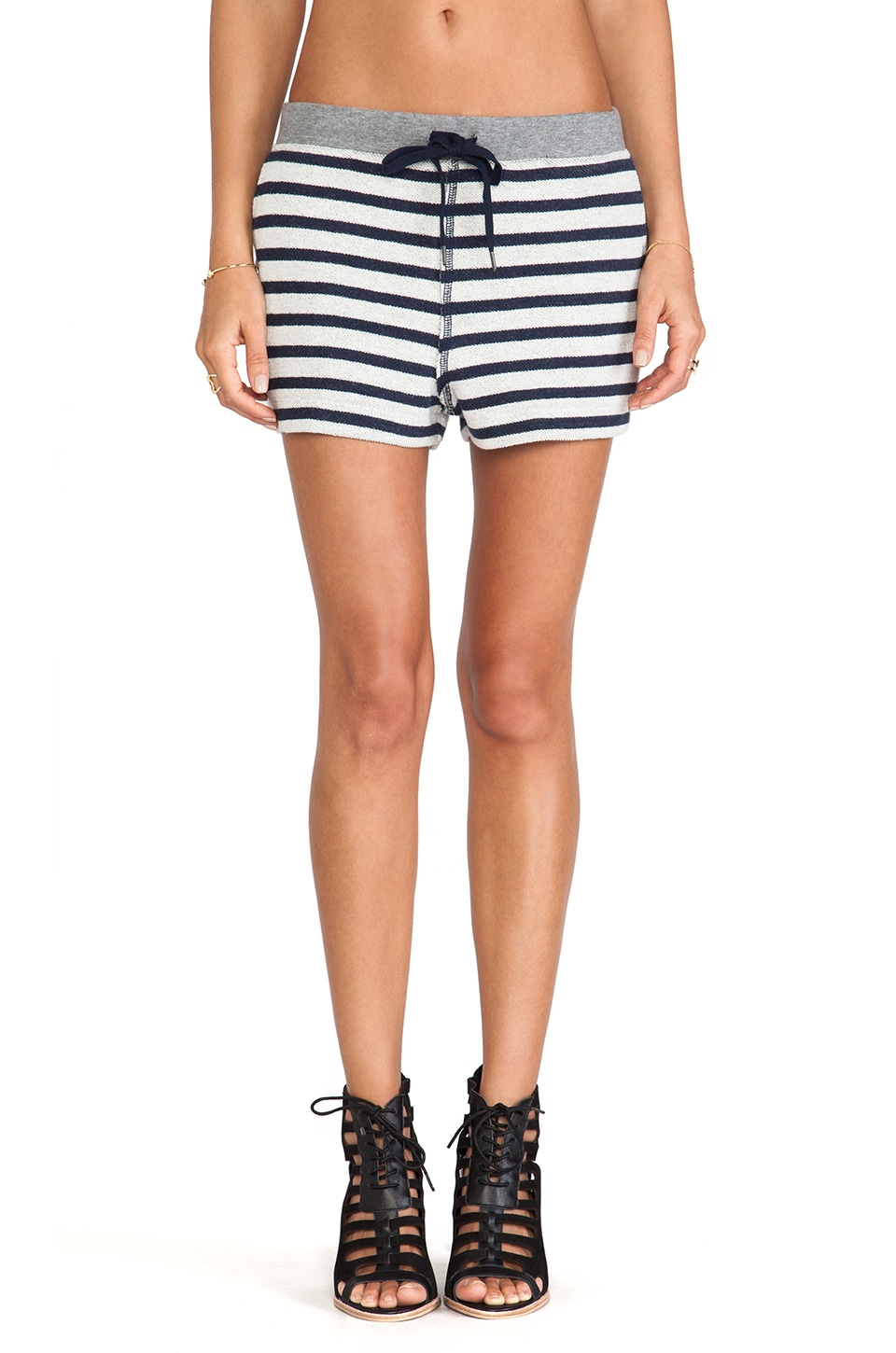 T by Alexander Wang Striped French Terry Sweatshort in Ink/ivory