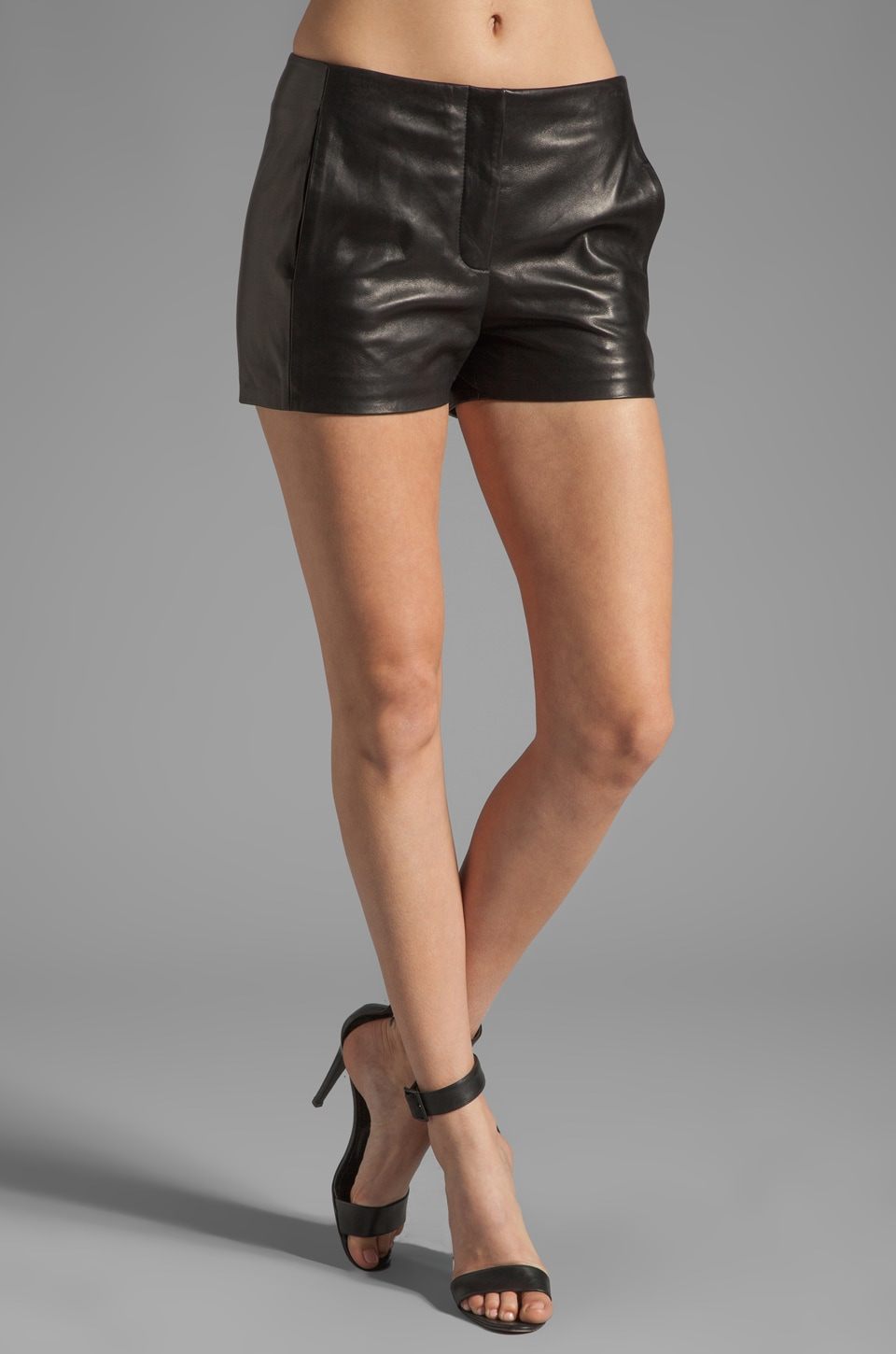 T by Alexander Wang Leather Waistbandless Short in Black