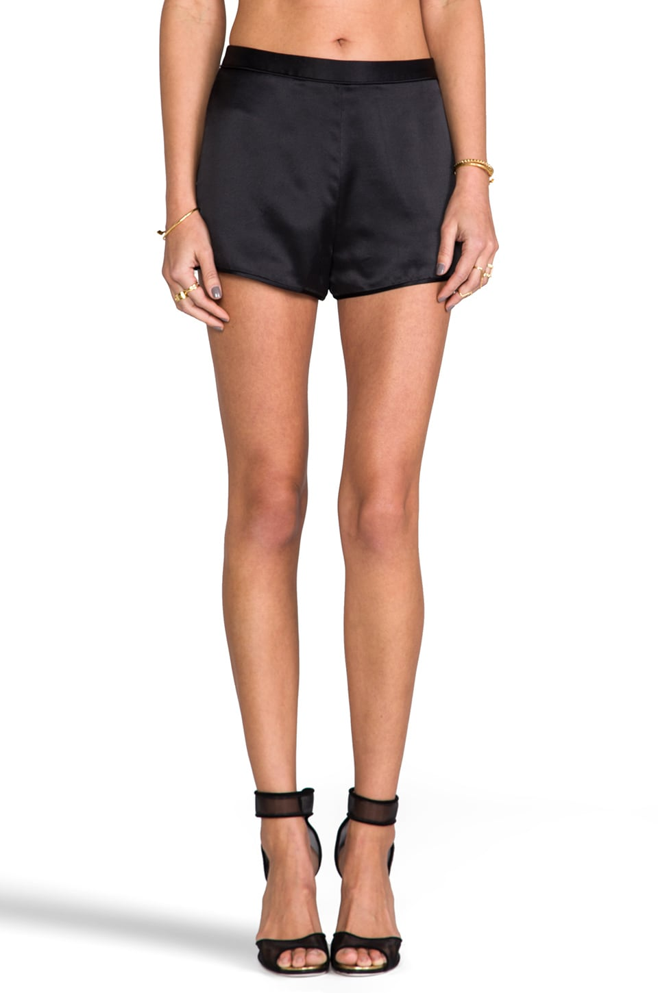 T by Alexander Wang Silk Satin Shorts in Black