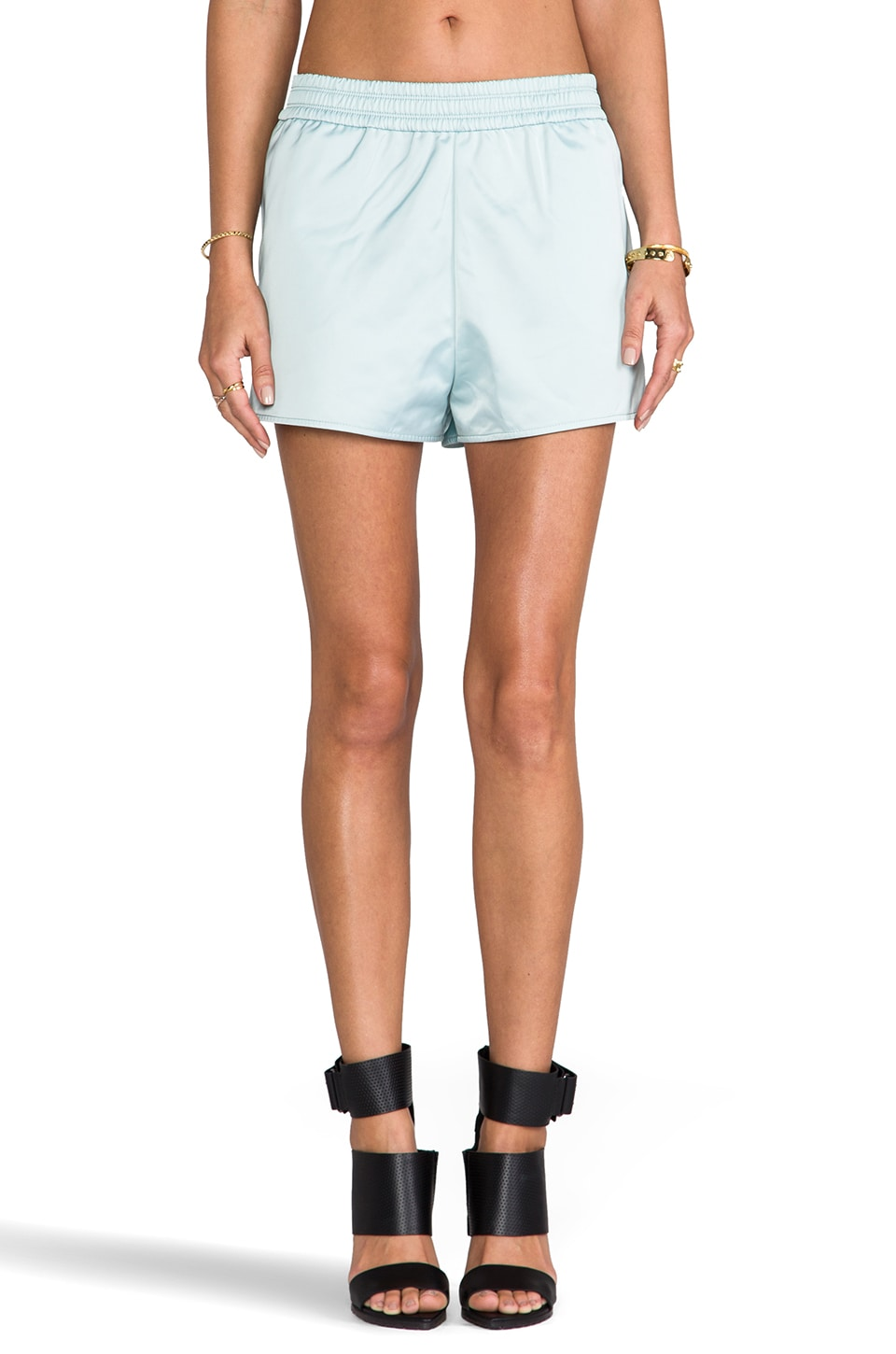 T by Alexander Wang Satin Track Shorts in Celadon