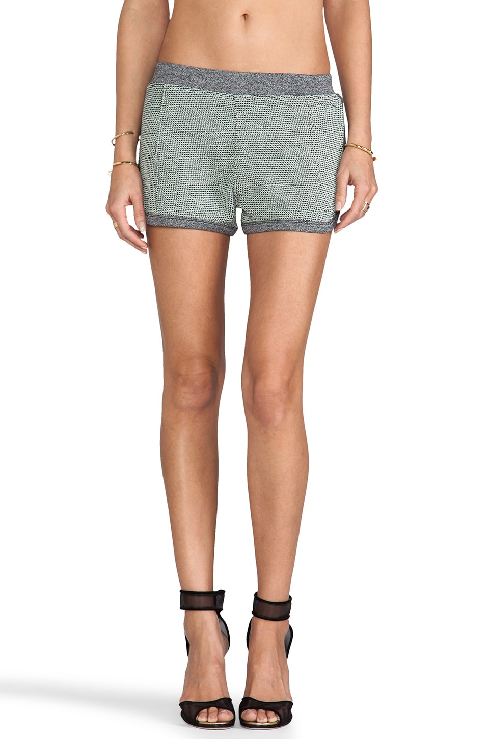 T by Alexander Wang Rainbow French Terry Shorts in Peppermint