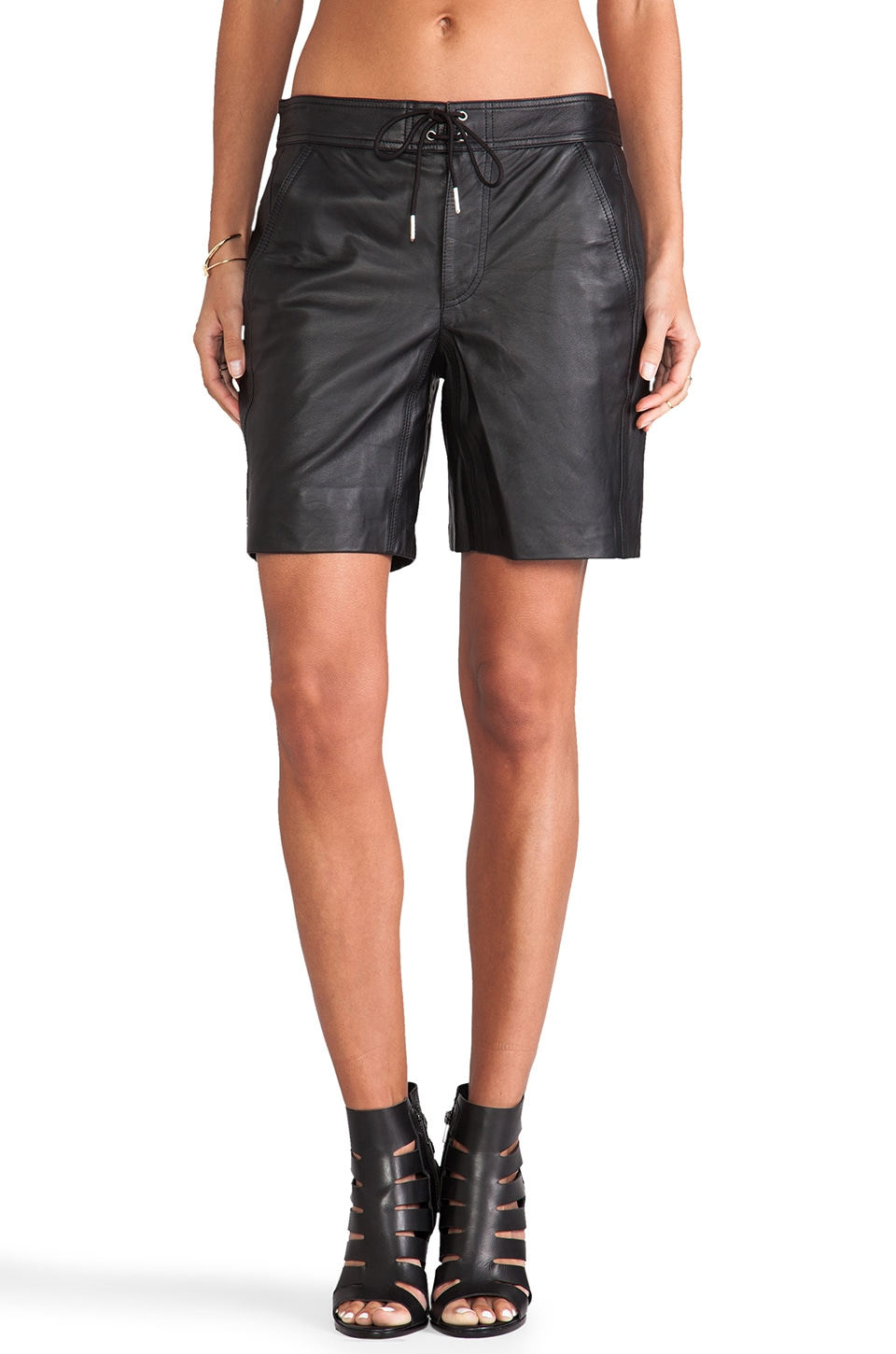 T by Alexander Wang Lightweight Leather Boardshorts in Black