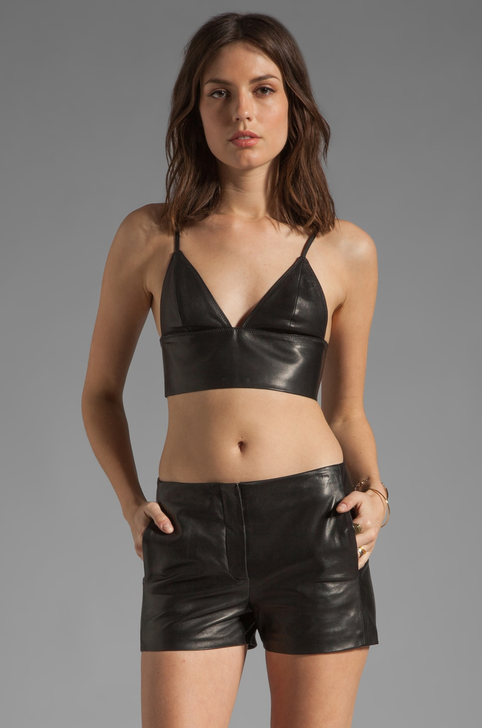 T by Alexander Wang Leather Triangle Bralette in Black