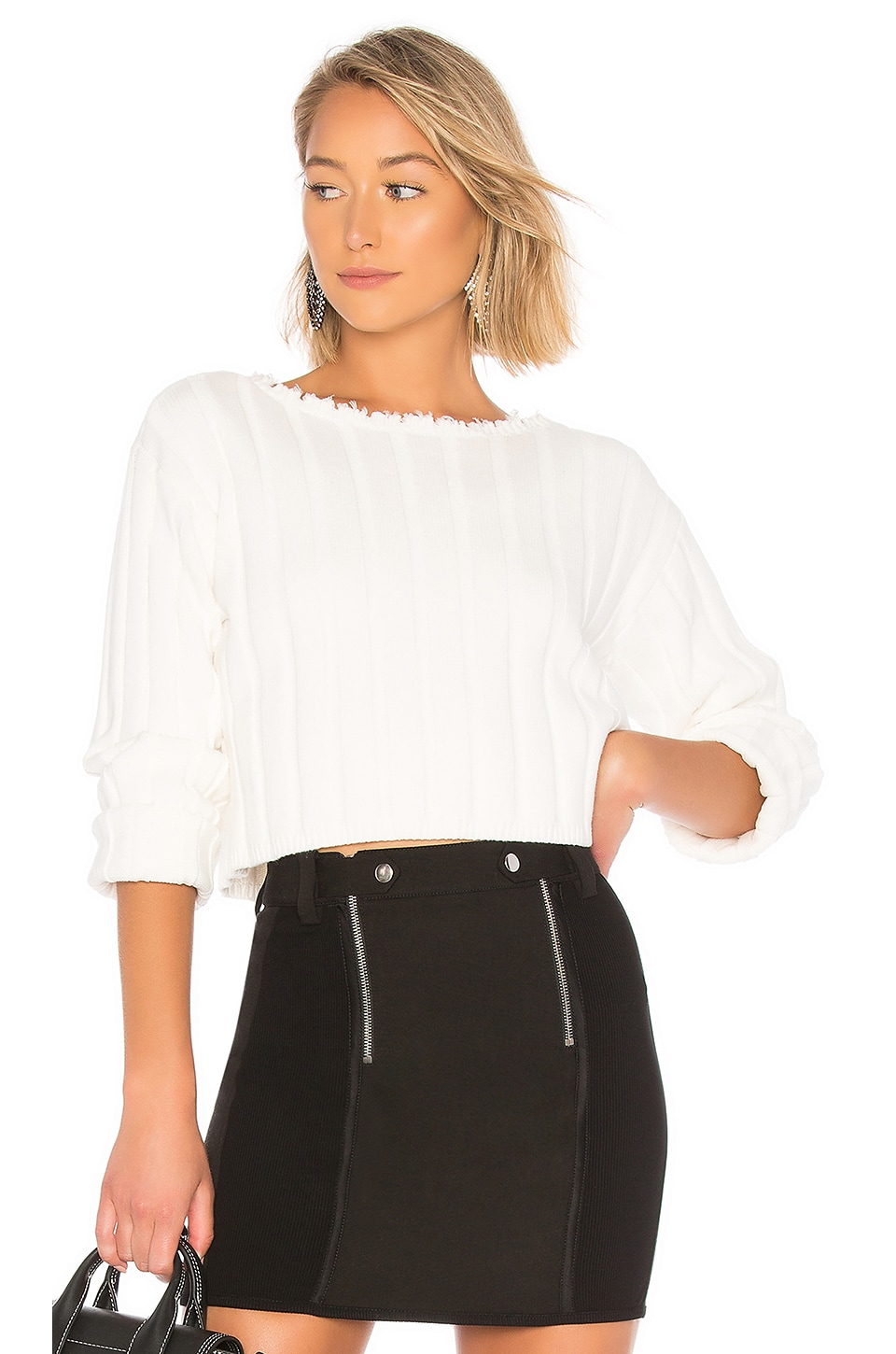 T by Alexander Wang Off Shoulder Pullover in Ivory