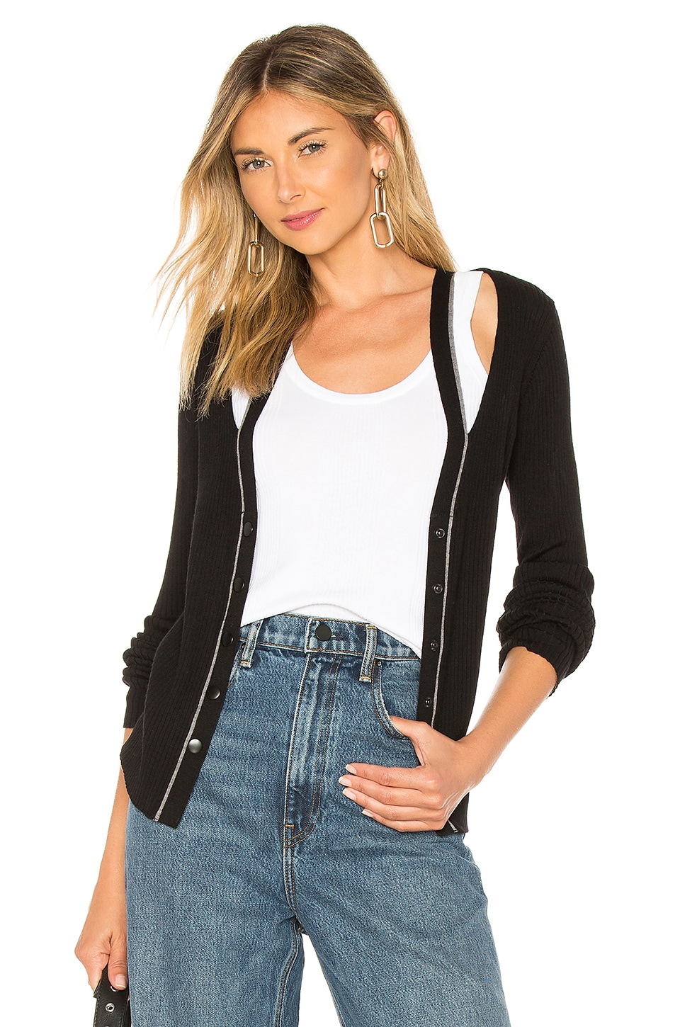 T by Alexander Wang Layered Fitted Cardigan in Black & White