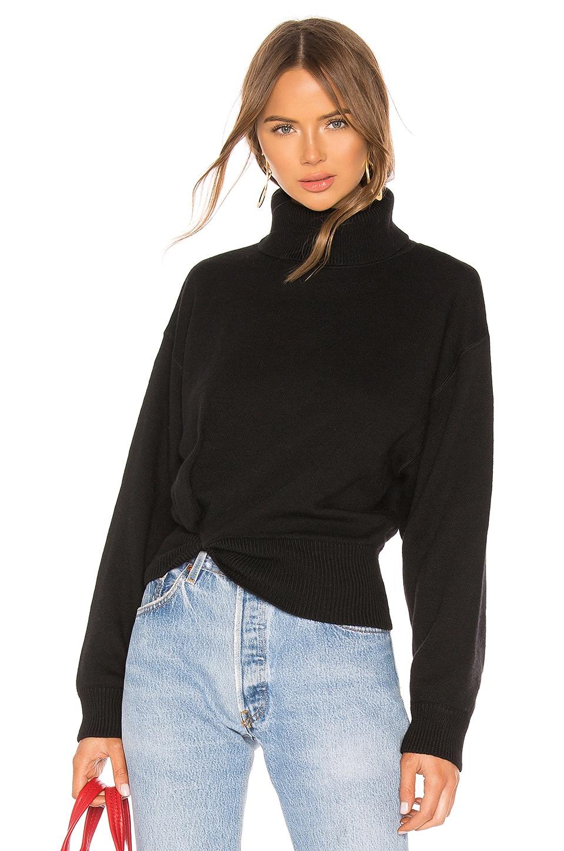 T by Alexander Wang Twist Detail Turtleneck Sweater in Black