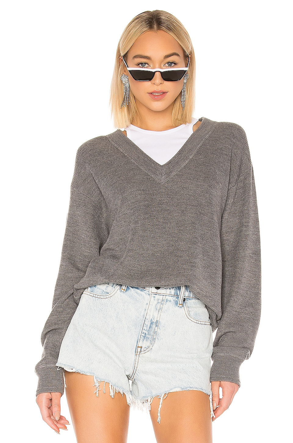T by Alexander Wang Bi Layer V Neck With Inner Tank Sweater in Heather Grey