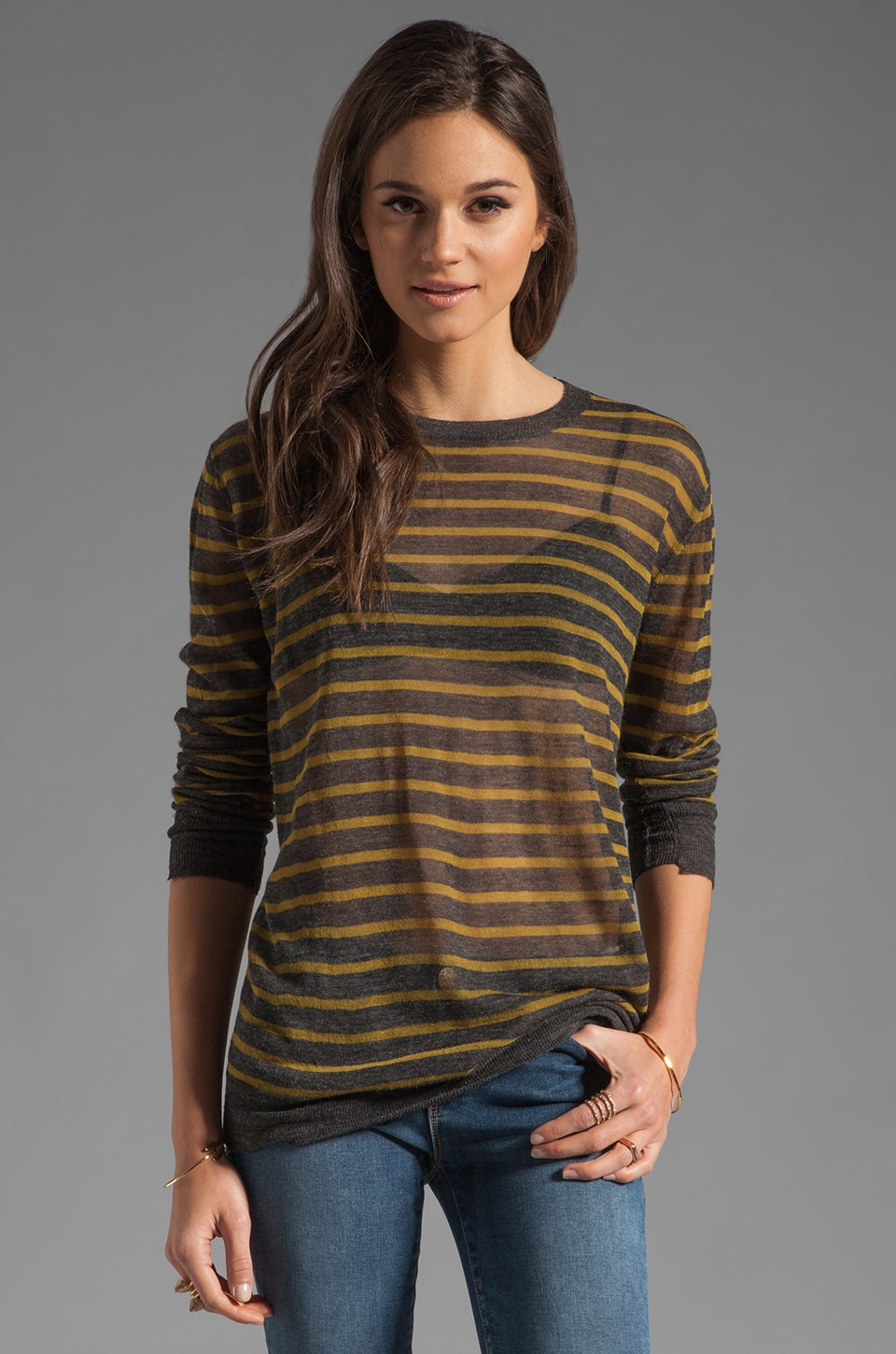 T by Alexander Wang Stripe Torquing Sweater in Charcoal and Chartreuse