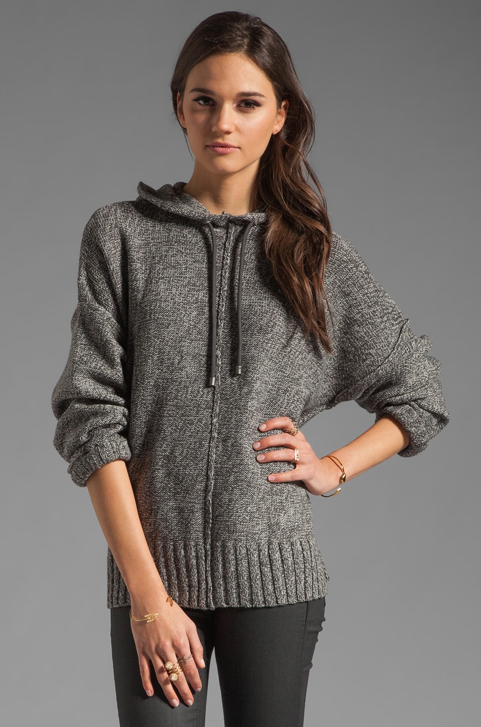 T by Alexander Wang Knit Hoodie in Heather Grey