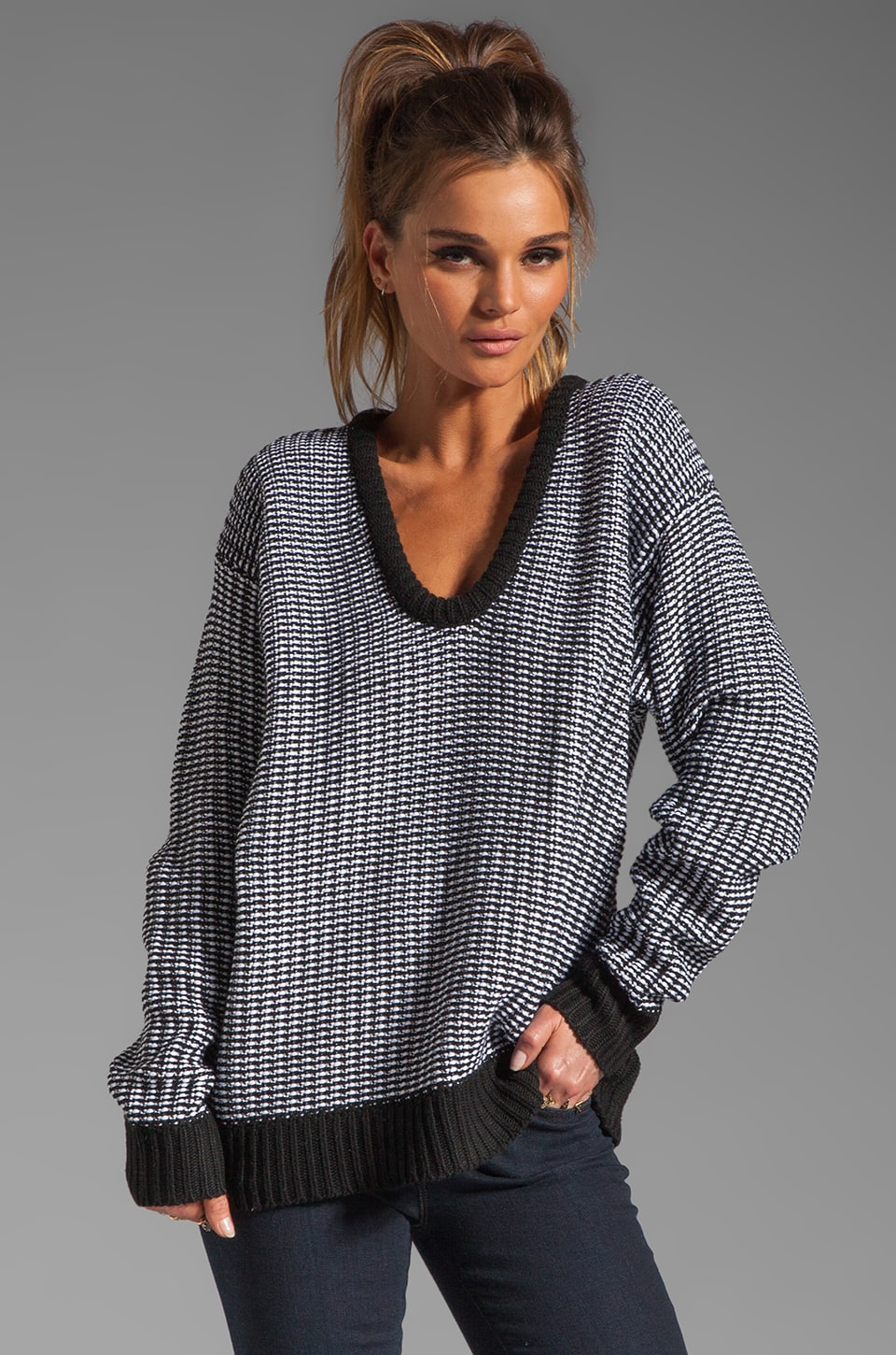 T by Alexander Wang Checkered Float V Neck Dolman in Black and White