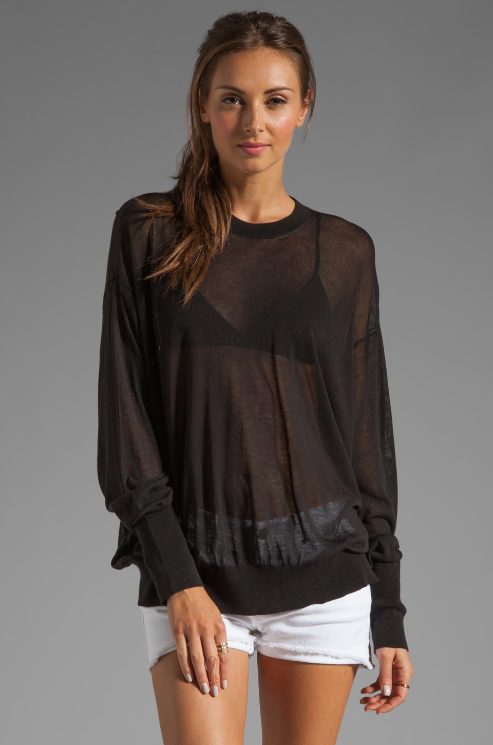 T by Alexander Wang Sheer Loose Knit Crew Neck Pullover in Black