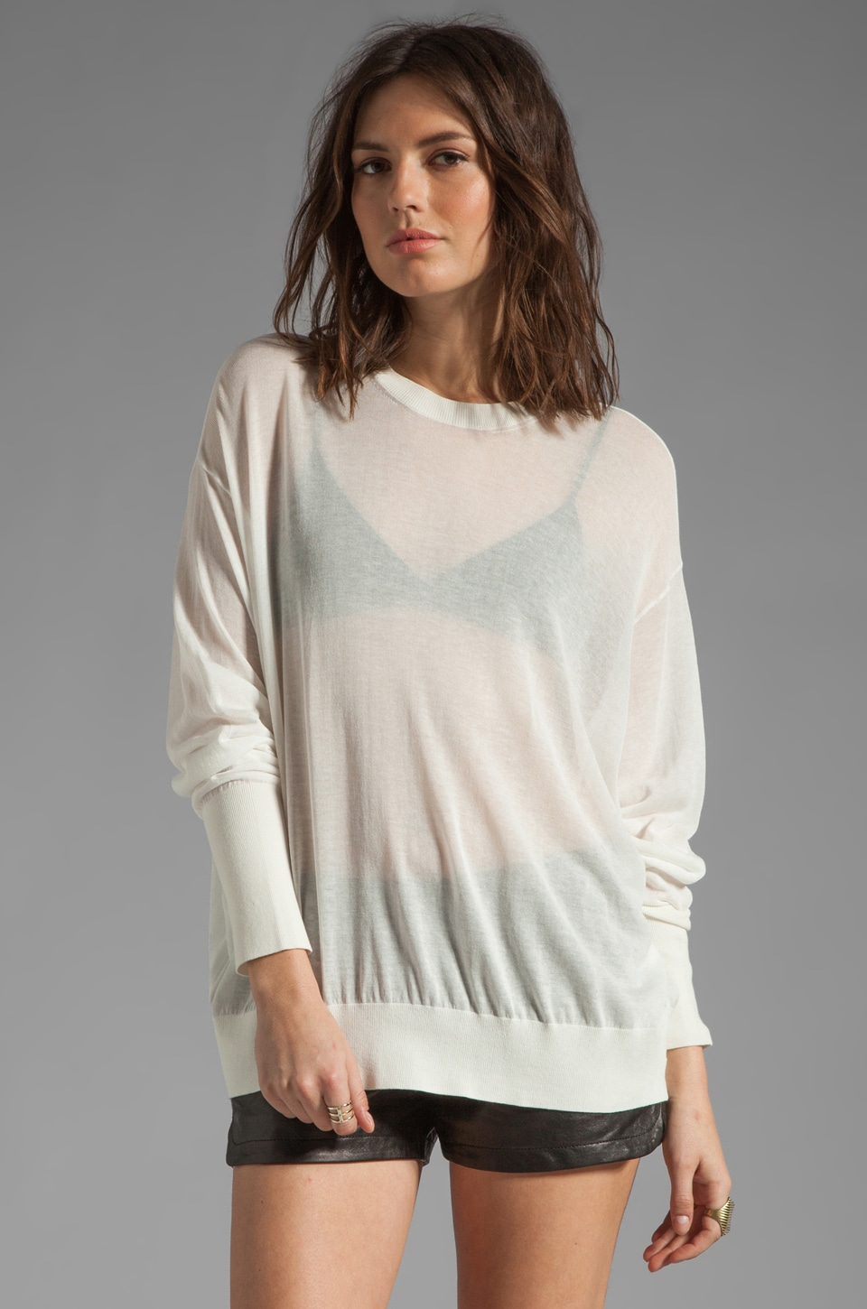 T by Alexander Wang Sheer Loose Knit Crew Neck Pullover in White