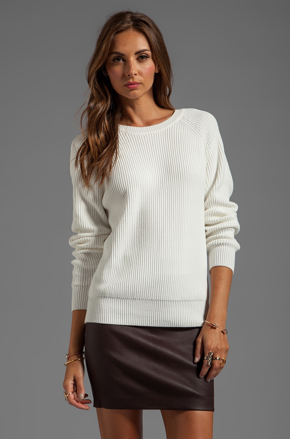 T by Alexander Wang Techy Slick Cotton Rib Sweater in White