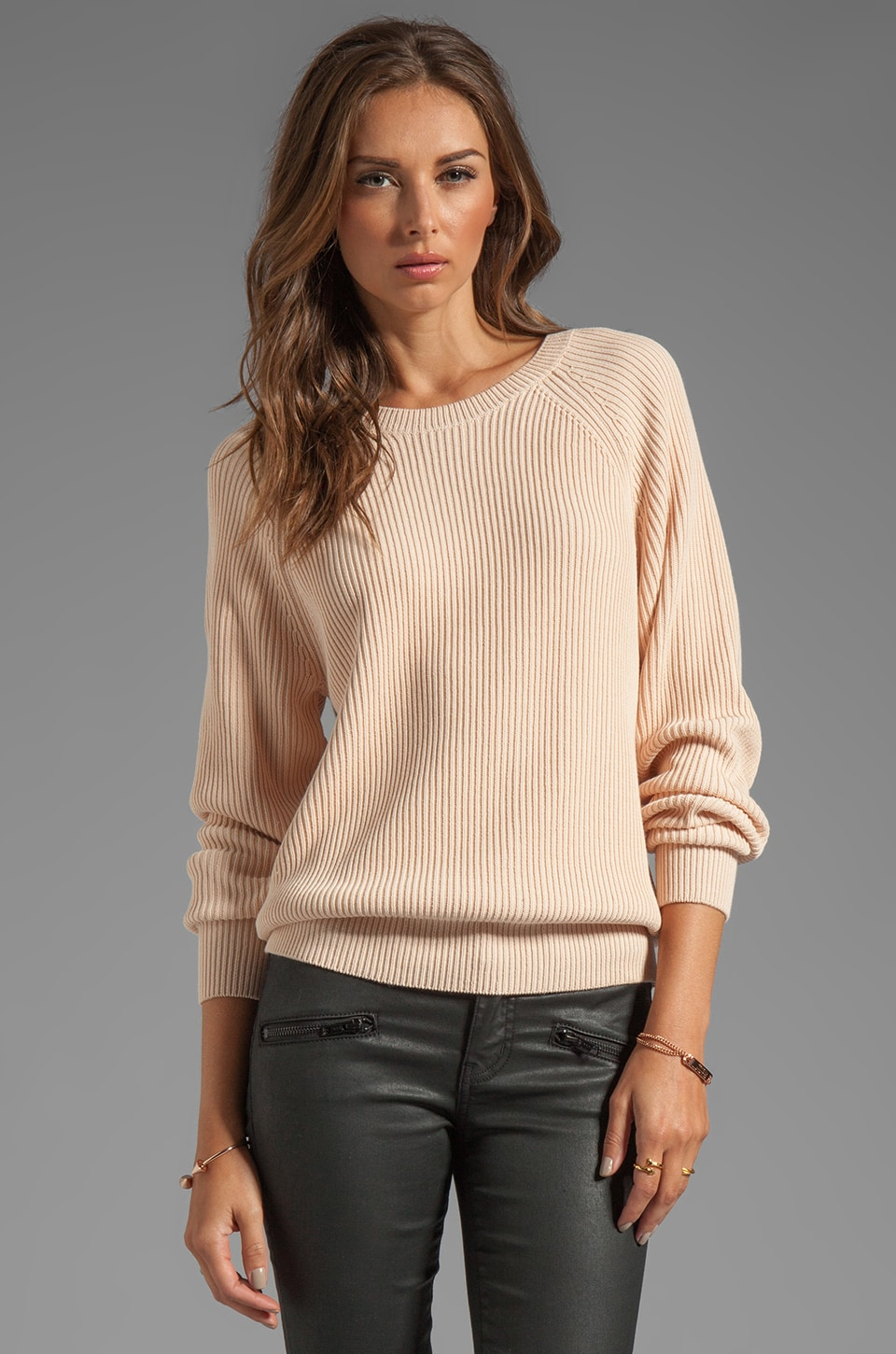 T by Alexander Wang Techy Slick Cotton Rib Sweater in Blush