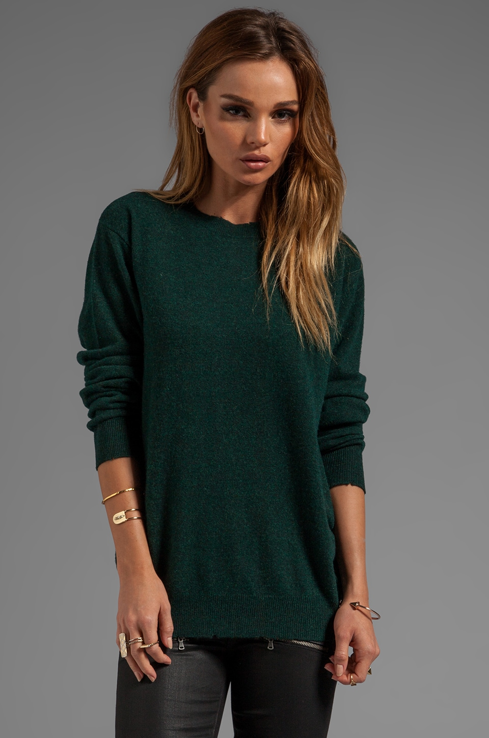 T by Alexander Wang Distressed Merino Blend Knit Pullover in Forest