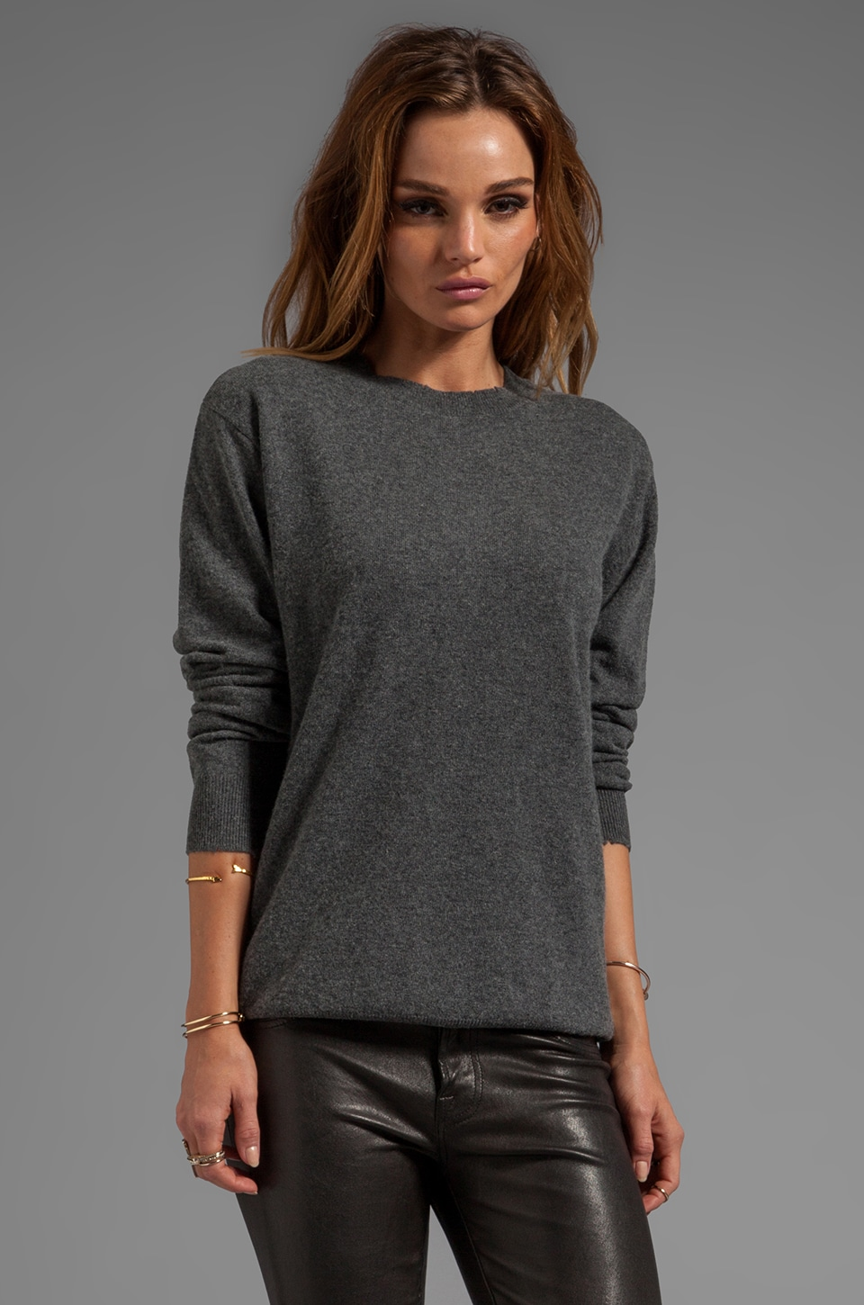 T by Alexander Wang Distressed Merino Blend Knit Pullover in Heather Grey