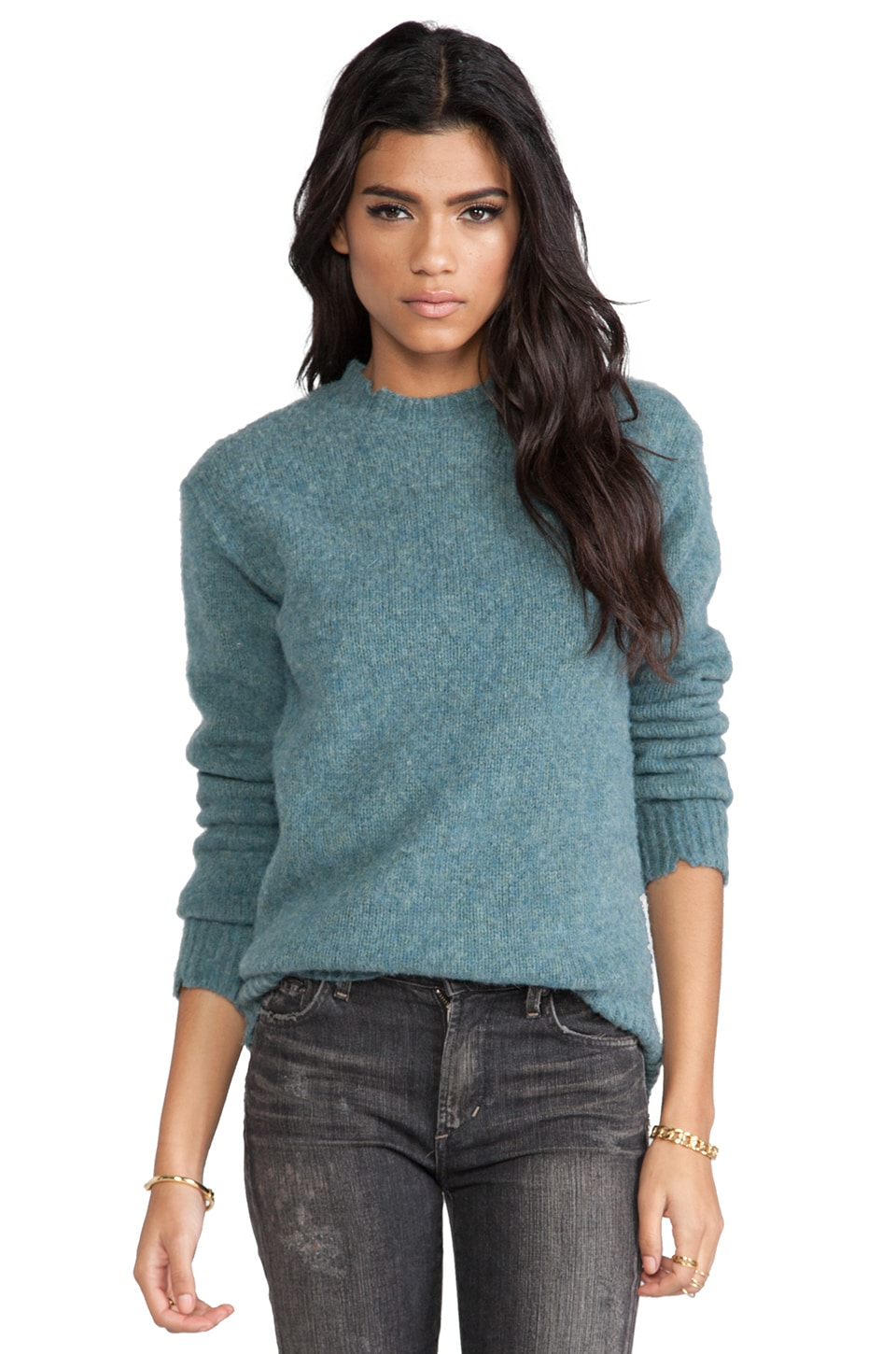 T by Alexander Wang Distressed Jersey Lined Wool Crewneck Pullover in Ocean